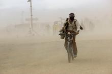 Man In A Desert Dust Storm On ...