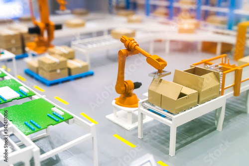 model of Robotic and Automation system control application on automate robot arm Canvas Print