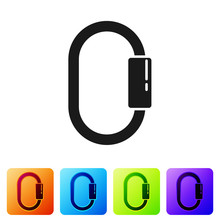Black Carabiner Icon Isolated ...