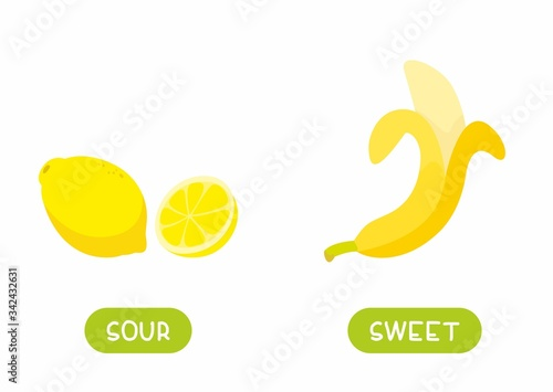 Photo Antonyms concept, SOUR and SWEET