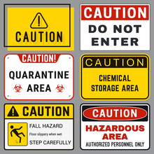 Caution. Safety Blank Labels With Ability To Replace Text You Need. Various Embodiments Safety Banners