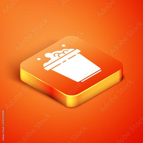 Isometric Bucket with soap suds icon isolated on orange background Fototapet