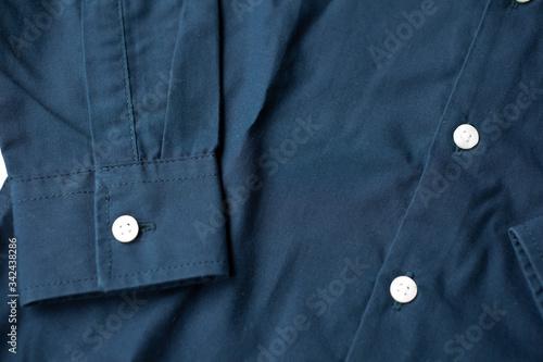 Photo Detalle de manga camisa azul marino