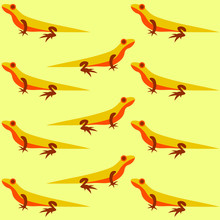 Yellow Background With Orange Lizards, Textile Pattern For Decoration.