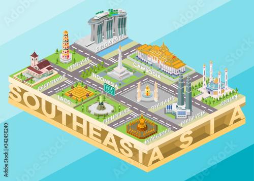 Isometric Vector Illustration Representing Landmark Buildings of Southeast Asia Fototapete