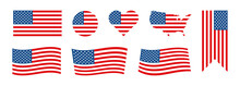 Flag USA Set Isolated Icon. America Holidays.  4 July Banner  In Flat Style. Veteran Day And Memorial Day Vector Illustration