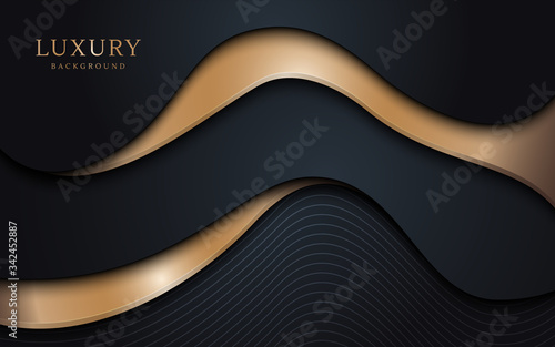 Abstract wavy layers pattern with luxury dark blue and gold background. Vector illustration. - 342452887