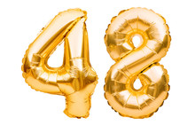 Number 48 Forty Eight Made Of Golden Inflatable Balloons Isolated On White. Helium Balloons, Gold Foil Numbers. Party Decoration, Anniversary Sign For Holidays, Celebration, Birthday, Carnival