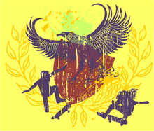 Eagle And Skateboarders Graphic Design Vector Art