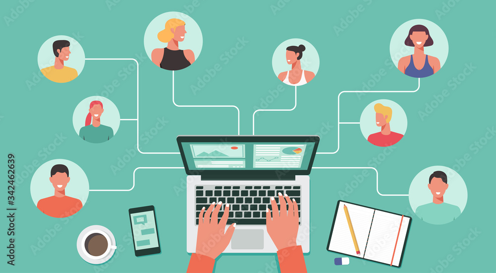Fototapeta people with different and expert skills connecting and working online together on laptop computer, remote working, work from home, work from anywhere and new normal concept, vector flat illustration