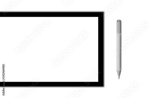 Pantalla con lápiz digital. Ilustración. Fondo blanco, aislada. Wallpaper Mural