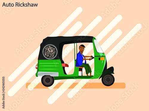 Fényképezés Green Color South Asian three wheeler Auto rickshaw Flat vector Icon Illustratio