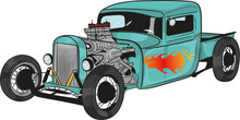 Cartoon Hot Rod,rat Rod,americ...