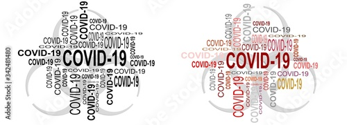 Obraz na plátně Captions clustered into a collection of words about the COVID-19 virus that is spreading around the world