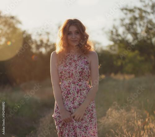 Fotografie, Tablou outdoor half-length portrait of model , nature beauty skin of young girl