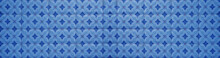 Blue Vintage Retro Geometric Square Mosaic Motif Cement Tiles Flower Blossom Print Texture Background Banner Panorama