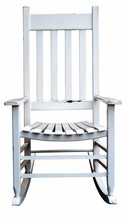Isolated Weathered Vintage White Rocking Chair.