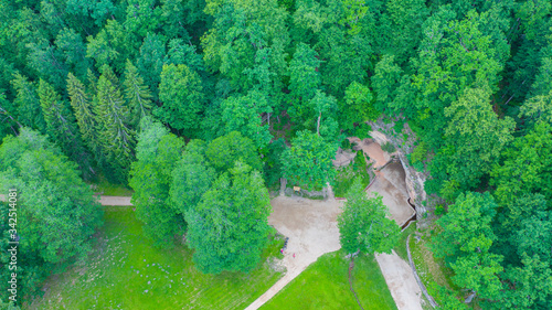 Beautiful aerial view photo from drone on Gutmanala ancient cult site and protec Canvas Print