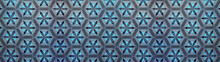 Gray Anthracite Turquoise Blue Vintage Retro Geometric Square Mosaic Motif Cement Tiles With Circle Flower Blossom Print Texture Background Banner Panorama