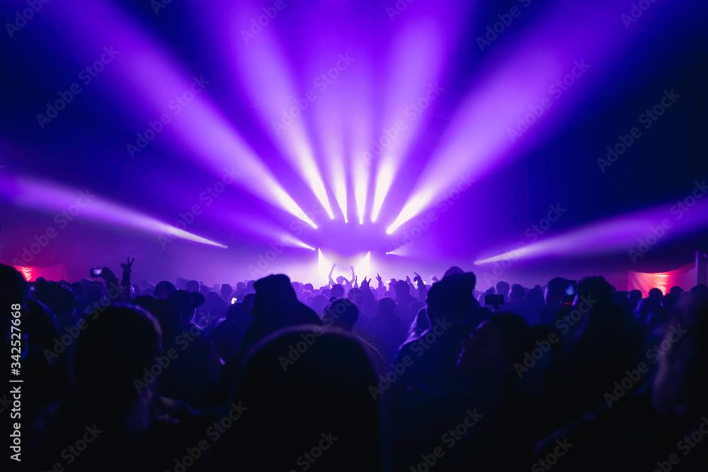 Fototapeta Festiwal muzyczny. Koncert, impreza w wielkim namiocie, tłum ludzi, światła estradowe, mgła, taneczny klimat, dj.