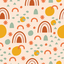 Rainbow Abstract Seamless Pattern In Vector For Textile, Wrapping Paper, Cards, And More.