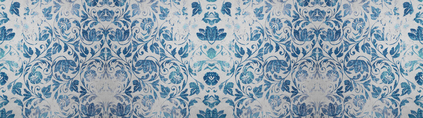 Old blue white gray worn vintage shabby damask patchwork tiles stone concrete cement wall texture background banner