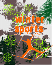 Winter Sports Print And Embroidery Graphic Design Vector Art