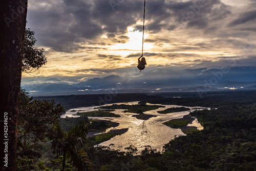 sunset at the amazonia Canvas Print