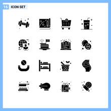 Set Of 16 Vector Solid Glyphs ...