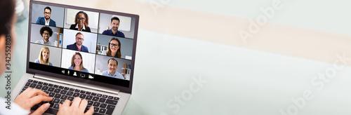 Fototapeta Businesswoman Video Conferencing With Laptop obraz na płótnie