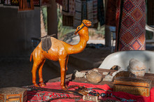 Close Up Of Leather Handcrafted Camel Statue, Exposed On A Street Stand In Tunisia