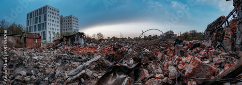 Canvas Print Ruins of old demolished industrial building