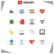 Set Of 16 Modern UI Icons Symb...