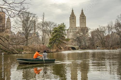 A couple ate the Central Park Canvas Print