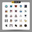 Modern Set of 25 Filled line Flat Colors and symbols such as business, binder, insignia, archive, rain
