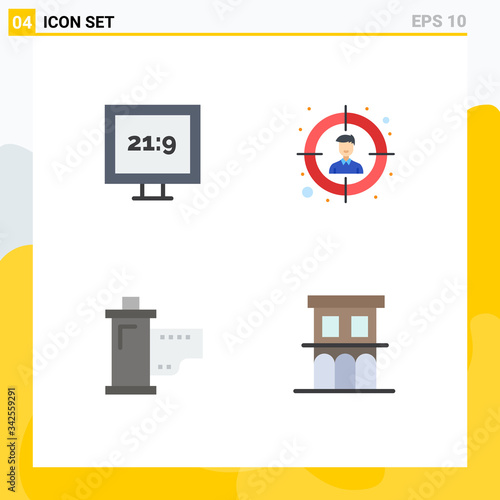 Photo 4 Thematic Vector Flat Icons and Editable Symbols of aspect ratio, hollywood, au