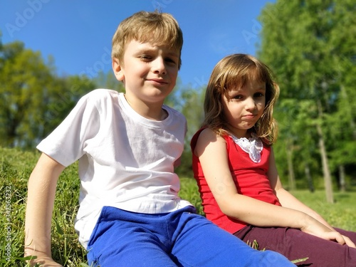 Photo Boy and girl, brother and sister