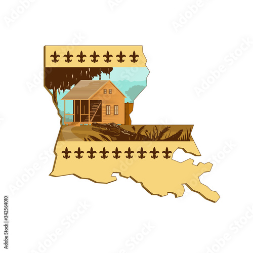 Valokuva Retro wpa style illustration of a Cajun house and alligator or gator in foreground set inside outline of Louisiana state map of United States of America, USA with fleur-de-lis on isolated background