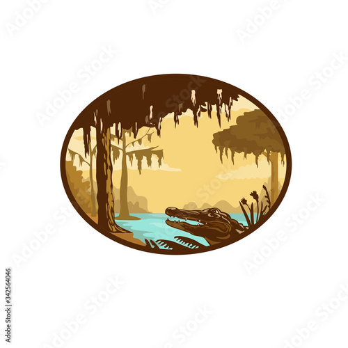 Fotografía Retro wpa style illustration of a typical bayou, swamp or wetland found in the state of Louisiana and across the American southeast with alligator or gator set inside oval on isolated background
