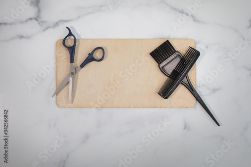Blank wooden sign no writing ready to add content hairstylist scissors hair cutt Canvas Print