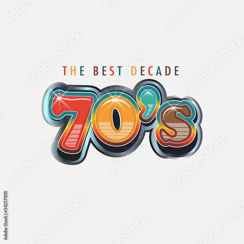 Vászonkép 70s Logo Best Decade. Retroc Words and colors
