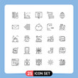 Set of 25 Modern UI Icons Symbols Signs for rail, bathroom, vehicle, shopping, online