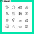 Pictogram Set of 16 Simple Outlines of medical, oncology, ui, cancer, casualty