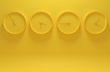 Monochrome Yellow Image With Four Clocks Showing Different Time On A Solid Background. 3D Illustration