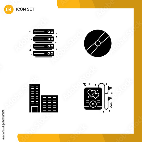 фотография Stock Vector Icon Pack of Line Signs and Symbols for cloud, building, cinema, po