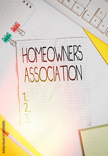 Writing note showing Homeowners Association Canvas Print