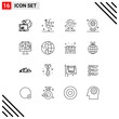 16 User Interface Outline Pack of modern Signs and Symbols of setting, bulb, drink, manager, director