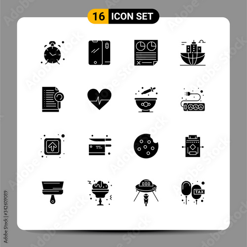 Photo 16 User Interface Solid Glyph Pack of modern Signs and Symbols of city, building