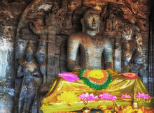 Buddha Sitting Granite Rock Background In Gal Vihara Polonnaruwa In Sri Lanka