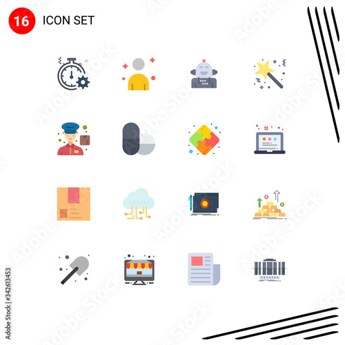 Mobile Interface Flat Color Set of 16 Pictograms of award, star, android, stick, Canvas Print